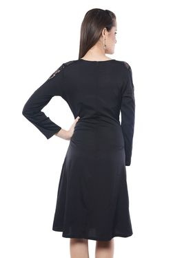 Meira Solid Poly Crepe Women's Dress - Black _ MEWT-1138-Black