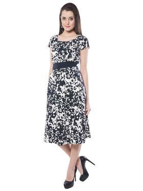 Meira Printed Poly Crepe Women's Dress - Black & White _ MEWT-1133