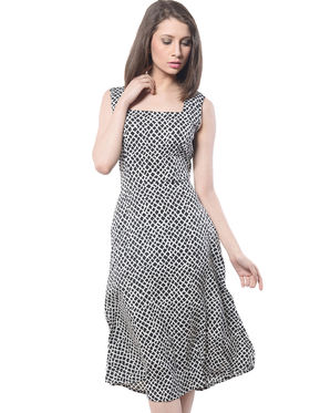 Meira Printed Poly Voile Women's Dress - Black _ MEWT-1064-E-Black