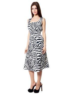 Meira Printed Crepe Women's Dress - White _ MEWT-1064-F-White