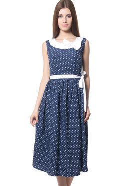 Meira Printed Crepe Women's Dress - Navy Blue _ MEWT-1195-NavyBlue