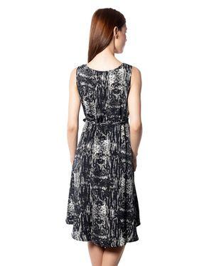Meira Printed Georgette Women's Dress - Black _ MEWT-1022-Q-Multi