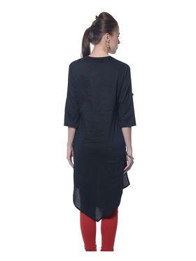 Meira Cotton Plain Kurti - Black - MEKUR-2023-Black