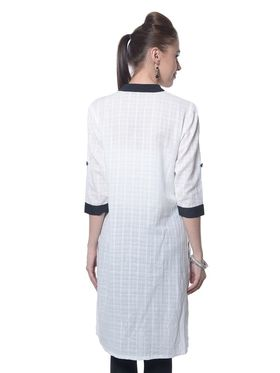 Meira Cotton Plain Kurti - White - MEKUR-2027-White