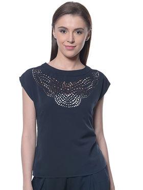 Meira Poly Crepe Plain Top - Black - MEWT-1219-Black