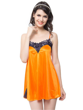 Clovia Satin  Lace Solid Babydoll -NS0448P16
