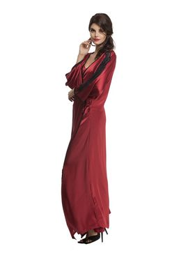 Clovia Satin Lace Solid Nighty with Robe -NS0608P09