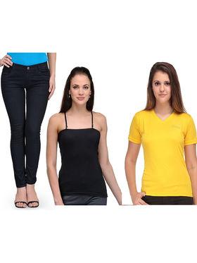 Oleva Combo Of 3 Black Denim + Yellow T-Shirt + Black Spaghetti ONC-3
