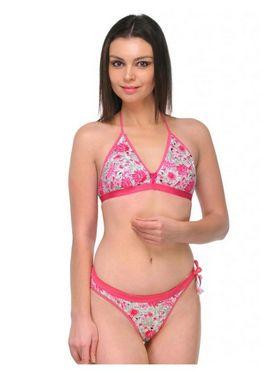 Oleva Cotton Printed Bikini Set - Pink - OLG_B_BP_5