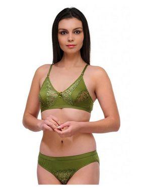 Oleva Cotton Plain Bikini Set - Green