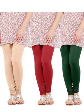 Pack of 3 Oh Fish Solid Cotton Stretchable Leggings -zwe78