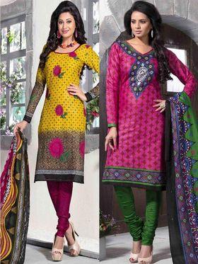 Pack of 2 Priya Fashions Cotton Printed Dress Material - PFS2CI