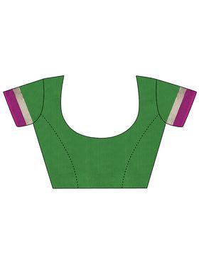 Nanda Silk Mills Handloom Green & Pink Plain Cotton Silk Saree -nad01