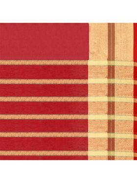 Nanda Silk Mills Handloom Red & Gold Plain Cotton Silk Saree -nad16