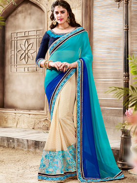 Indian Women Embroidered Georgette Multicolor Saree -Ra21015