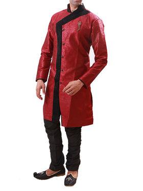 Runako Regular Fit Elegant Silk Brocade Sherwani For Men - Red