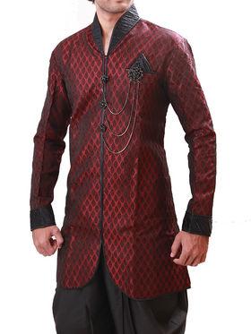 Runako Regular Fit Elegant Silk Brocade Sherwani For Men - Maroon_RK1064