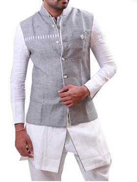 Runako Regular Fit Silk Brocade Kurta Pyjama For Men - White & Silver
