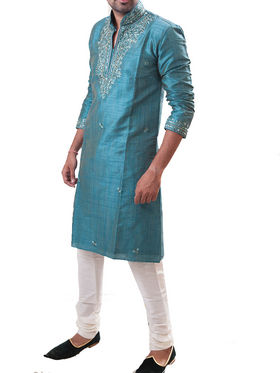 Runako Regular Fit Silk Brocade Kurta Pyjama For Men - Light Blue