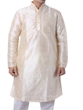 Runako Regular Fit Silk Brocade Kurta Pyjama For Men - Cream_RK40622