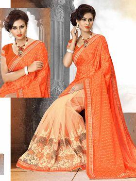 Viva N Diva Pure Crepe & Net Floral Embroidery Saree -Riwaaz-Again-9001