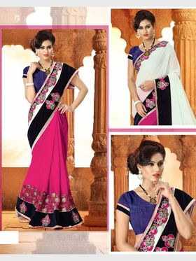 Viva N Diva Georgette Floral Embroidery Saree -Riwaaz-Again-9011