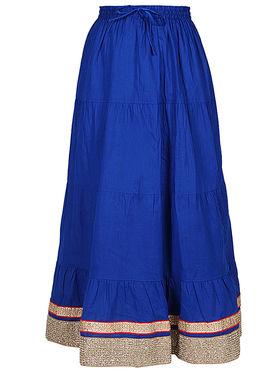 Amore Plain Cotton Embellished Skirt -Skv084Rb