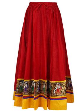 Amore Plain Cotton Embellished Skirt -Skv116R