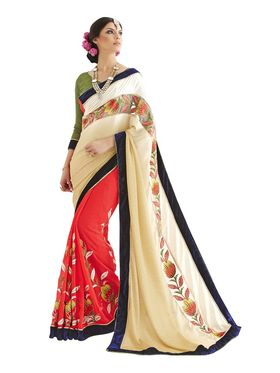 Khushali Fashion Embroidered Gerogette Half & Half Saree_KF56