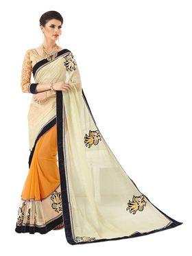 Khushali Fashion Embroidered Georgette Half & Half Saree_KF65