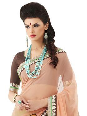 Khushali Fashion Embroidered Georgette Half & Half Saree_KF70