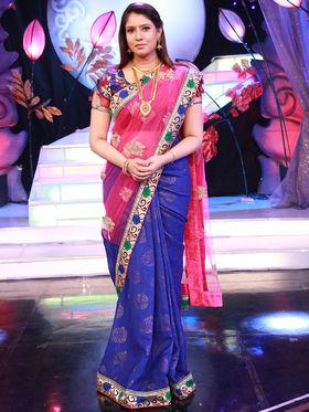 Sanaya Pink & Blue Designer Saree from Aaha Enna Porutham (4819)