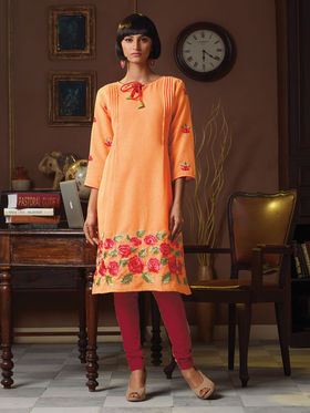 Viva N Diva Poly Linen Floral Embroidery Kurtis -Senorita-Again-7541