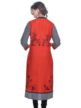 Shop Rajasthan 100% Pure Cotton Printed Kurti - Red - SRE2226