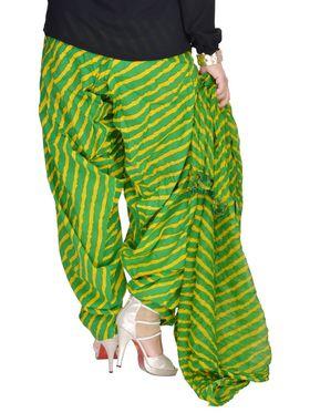 Shop Rajasthan 100% Pure Cotton Striped Patiala Salwar - Green and Yellow - SRI2023