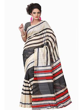 Silkbazar Printed Bhagalpuri Silk Saree - Black & Cream-FL-1905-APR