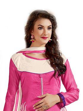 Thankar Embroidered Chanderi Cotton Semi-Stitched Suit� -Tas315-6309