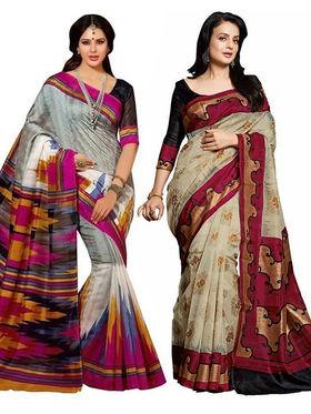 Pack of 2 Thankar Printed Bhagalpuri Saree -Tds137-187.188