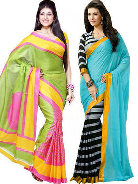 Pack of 2 Thankar Printed Bhagalpuri Saree -Tds137-213.214