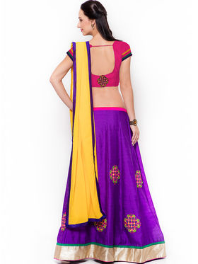 Triveni Appealing Purple Art Silk Semi Stitched Lehenga Choli_Ts13280