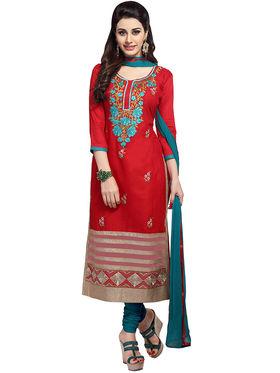 Triveni's Blended Cotton Embroidered Dress Material -TSMDESK1057