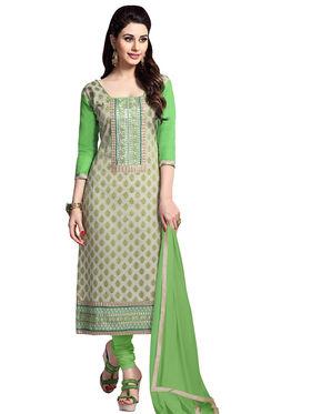 Triveni's Blended Cotton Embroidered Dress Material -TSMDESK1059
