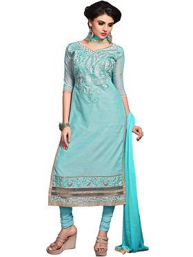 Triveni's Chanderi Cotton Embroidered Dress Material -TSMDESK1104