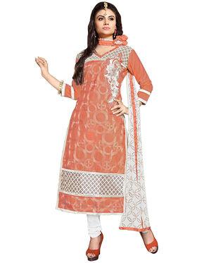Triveni's Chanderi Cotton Embroidered Dress Material -TSMDESK1109