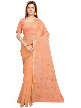 Triveni's Blended Cotton Embroidered Saree -TSMRCCPI4005