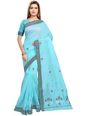 Triveni's Blended Cotton Embroidered Saree -TSMRCCPI4007