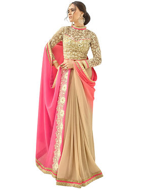 Triveni's Shimmer  Georgette Border Work Saree -TSN84022