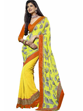 Triveni Chiffon,Faux Georgette Printed Saree - Yellow - TS700007a