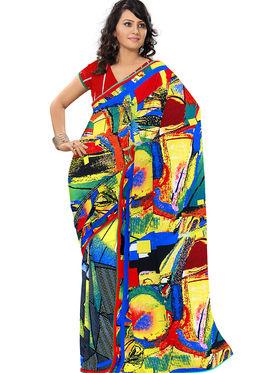 Triveni Faux Georgette Printed Saree - Multicolor - TSPORN4011a