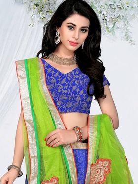 Triveni Chanderi - Jacquard Embroidered Lehenga Choli - Blue and Green -TSSATKL505